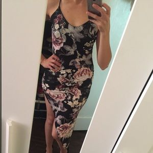 Black Flower print asymmetrical Dress
